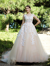 Ball Gown Illusion Neckline Court Train Lace Tulle Wedding Dress with Appliques Buttons Sashes/ Ribbons by LAN TING BRIDE®