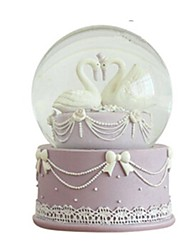 Balles Boîte à musique Jouets Circulaire Cygne Cristal Romantique Pièces Unisexe Anniversaire Cadeau