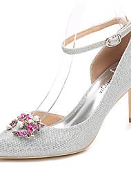 preiswerte -Damen Schuhe Glanz Frühling Herbst Pumps Knöchelriemen Hochzeit Schuhe Stöckelabsatz Spitze Zehe Kristall Glitter Für Hochzeit Party &