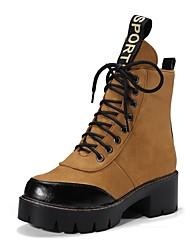 Недорогие -Жен. Обувь Дерматин Нубук Весна Зима Армейские ботинки Удобная обувь Ботинки На толстом каблуке Круглый носок Ботинки для Черный Желтый