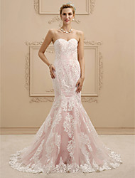cheap -Mermaid / Trumpet Sweetheart Court Train Lace Custom Wedding Dresses with Appliques by LAN TING BRIDE®