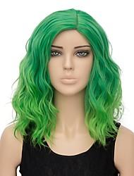 abordables -Perruque Synthétique Ondulation Cheveux Synthétiques Cheveux Colorés Vert Perruque Femme Court Sans bonnet Vert