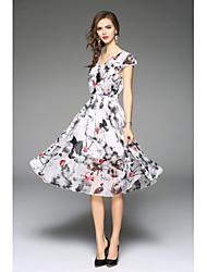 Недорогие -Для женщин На выход Офис Пляж  Винтаж Очаровательный Изысканный Оболочка Платье С принтом,V-образный вырез Средней длины С короткими