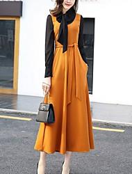 Feminino Bainha balanço Vestido,Casual Tamanhos Grandes Moda de Rua Estampa Colorida Colarinho Chinês Médio Manga Longa Poliéster Elastano