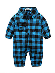cheap -Baby Boys' Plaid One-Pieces, 100% Cotton Autumn/Fall Check Long Sleeves Blue Red Light Blue