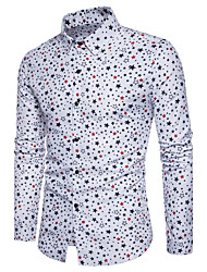 Men's Going out Casual/Daily Simple Street chic Active All Seasons Shirt,Polka Dot Geometric Classic Collar Long Sleeves Cotton Polyester