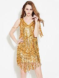 economico -dovremo abiti da ballo latino delle nappe di poliestere performance delle donne paillette 1 pezzi abiti senza maniche alti