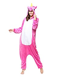 Kigurumi Pajamas Unicorn Leotard/Onesie Festival/Holiday Animal Sleepwear Halloween Fuschia Animal Flannel Kigurumi For Unisex Halloween