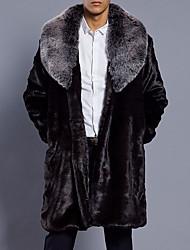 cheap -Men's Long Plus Size Faux Fur Fur Coat - Solid Colored Shirt Collar