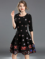 SUOQI Women's Party Going out Chinoiserie A Line DressEmbroidered Round Neck Above Knee Half Sleeves Polyester Summer Fall Mid Rise Stretchy