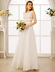 cheap -Princess Two Piece Jewel Neck Floor Length Chiffon Custom Wedding Dresses with Appliques by LAN TING BRIDE®