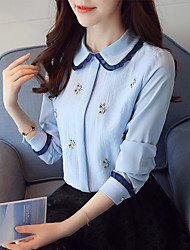 cheap -Women's Work Blouse - Embroidery Shirt Collar
