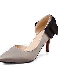 baratos -Mulheres Sapatos Tecido Primavera / Outono Conforto Saltos Salto Robusto Dedo Apontado Laço Preto / Vermelho / Khaki