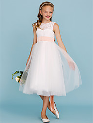 cheap -A-Line / Princess Crew Neck Tea Length Lace / Tulle Junior Bridesmaid Dress with Sash / Ribbon / Pleats by LAN TING BRIDE® / Open Back