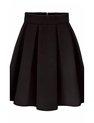cheap -Women's Daily Holiday Above Knee Skirts A Line Polyester Solid Winter Fall
