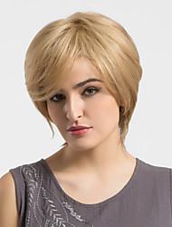 abordables -Corte Recto Sin Tapa Cabello humano pelucas Para mujeres de color Peluca afroamericana Corta Castaño medio / Bleach Blonde
