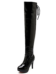 cheap -Women's Shoes PU Leatherette Fall Winter Comfort Novelty Fashion Boots Boots Stiletto Heel Round Toe Over The Knee Boots Lace-up For