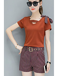 Women's Casual/Daily Simple Spring T-shirt Pant Suits,Solid Striped V Neck Short Sleeve Micro-elastic