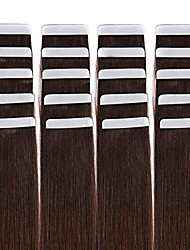 Tape in Hair Extensions Remy Human Hair Seamless Glue in Tape Hair Extension 20pc Dark Brown #2