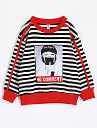 baratos -Para Meninas Camiseta Riscas Outono Algodão Manga Longa Preto