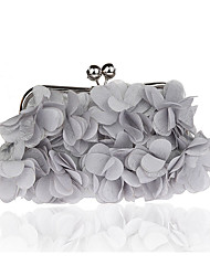 billige -Dame Tasker polyester Aftentaske Blomst Sølv / Rød / Lilla / Bryllup tasker / Bryllup tasker