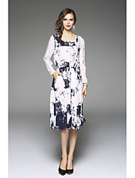 cheap -Women's Party Going out Cute Sexy Loose Dress,Solid Floral Round Neck Midi Asymmetrical Short Sleeves Linen Spring Summer High Rise
