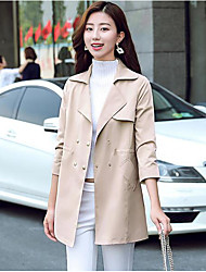 cheap -Women's Simple Trench Coat - Solid Colored Shirt Collar / Fall