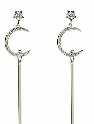 Per donna Orecchini a goccia Zircone cubico Classico Elegant Argento sterling Zirconi A stella Luna Gioielli Per Matrimonio Fidanzamento