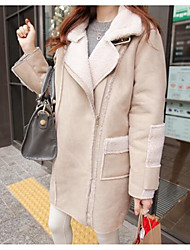 cheap -Women's Daily Simple Casual Winter Coat,Solid Peaked Lapel Long Sleeve Long Others