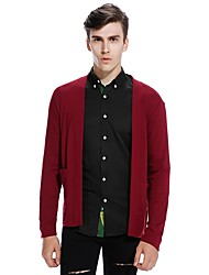 Men's Going out Casual/Daily Simple Cute Regular Cardigan,Solid Deep V Long Sleeves Cotton Linen Polyester Spring Fall Medium