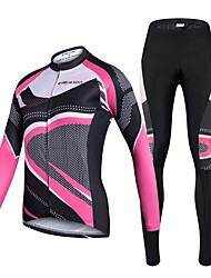 cheap -Realtoo Cycling Jersey with Tights Women's Long Sleeves Bike Clothing Suits Quick Dry Breathability 3D Pad Stretchy Spandex 100% Polyester
