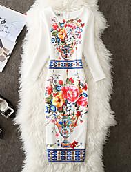 Women's Club Sexy Bodycon Dress,Geometric Round Neck Midi Long Sleeves Silk Summer High Rise Micro-elastic Sheer