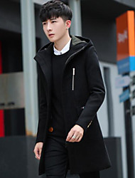 Men's Daily Simple Casual Winter Coat,Solid Hooded Long Sleeve Long Others