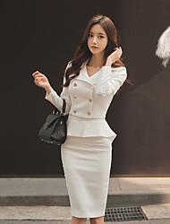 cheap -Women's Daily Casual Summer Fall Shirt Skirt Suits,Solid Shirt Collar Long Sleeve Cotton