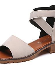cheap -Women's Shoes Suede Summer Comfort Sandals Low Heel Open Toe Zipper For Casual Gray Beige Black