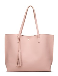 Women Bags All Seasons PU Tote Flower(s) for Shopping Casual Gold Black Silver Blushing Pink Gray