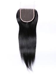 cheap -14 Inches Grade 8A 4x4 Lace Top Closure 100% Brazilian Human Hair 3 Part/Middle Part/Free Part #1B Natural Black Straight Hair Closure 1 Pcs