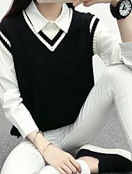 cheap -Women's Daily Regular Pullover,Solid V Neck Sleeveless Cotton Spring Fall Medium Micro-elastic