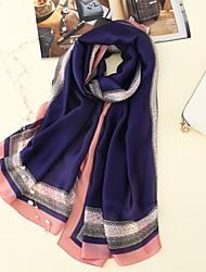 cheap -Women's Silk Rectangle Print All Seasons Blushing Pink Navy Blue Gray