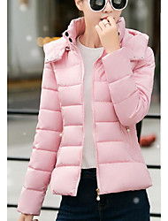 Women's Regular Down Coat,Simple Going out Casual/Daily Solid-Acrylic Polyester Polypropylene Long Sleeves