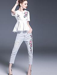 Maglietta Pantalone Completi abbigliamento Da donna Casual Semplice Estate,Con stampe A V Manica corta Media elasticità