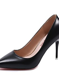 Women's Heels Comfort Summer PU Dress Kitten Heel Black 1in-1 3/4in