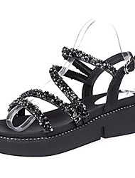 cheap -Women's Shoes PU Summer Comfort Sandals Flat Heel Round Toe Beading For Casual Silver Black