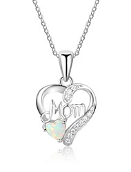 cheap -Women's Heart Elegant Pendant Necklace Synthetic Opal Sterling Silver Pendant Necklace , Gift