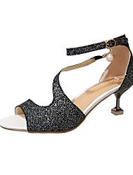 Damen Schuhe PU Frühling Sommer Komfort Pumps Sandalen Stöckelabsatz Spitze Zehe Imitationsperle Schnalle Für Kleid Party & Festivität