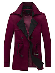 Men's Casual/Daily Simple Winter Trench Coat,Solid Peaked Lapel Long Sleeve Long Cotton Others