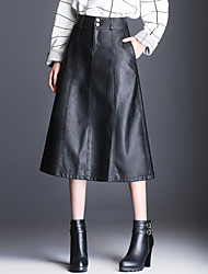 cheap -Women's Daily Midi Skirts,Casual A Line PU Solid Winter Fall