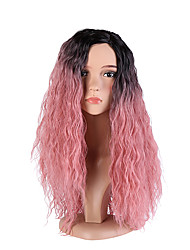 Women Long Black/Pink Curly Ombre Hair Natural Hairline Middle Part Layered Haircut Synthetic Hair Capless Halloween Wig Natural Wig