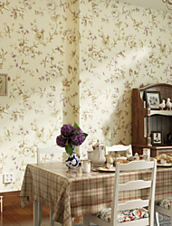 Floral Wallpaper For Home Classical Archaistic Wall Covering , Non-woven fabric Material Adhesive required Wallpaper , Room Wallcovering
