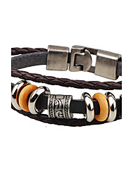 cheap -Men's Leather Bracelet Metallic Punk Leather Alloy Round Anchor Jewelry For Casual Stage